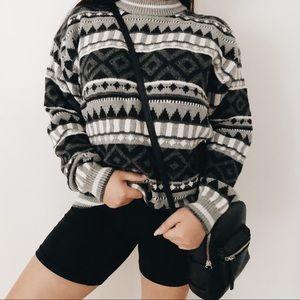vintage 90s Aztec Cosby Oversized Mockneck Sweater